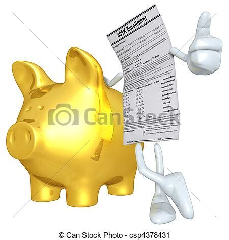 Drawing 401k by Clipart Of 401k Form With Gold Piggy Bank 3d Concept And