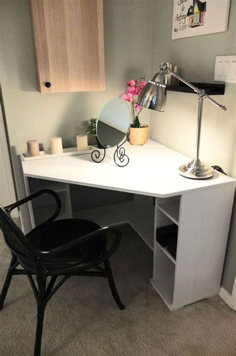 ikea borgsjo corner desk vittsj 214 storage combination black brown glass awesome