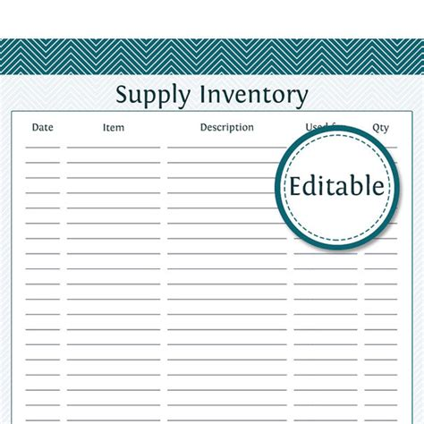 supply list template supply inventory editable business planner by organizelife
