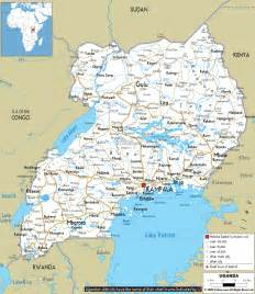 where is uganda on the world map uganda map travel map vacations travelsfinders