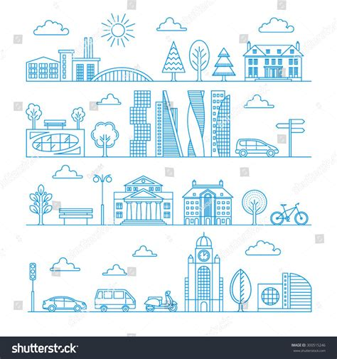 design elements style city design elements linear style vector stock vector