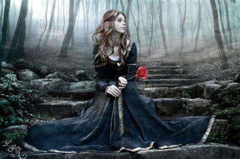 fantasy sad girl  red rose wallpaper