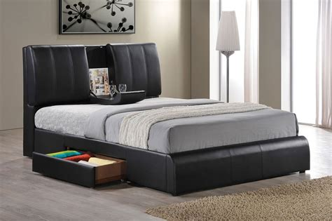 queen leather bed kofi black leather queen size bed frame one side storage