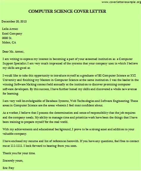 cover letter computer science graduate cover letter for new computer science graduate docoments