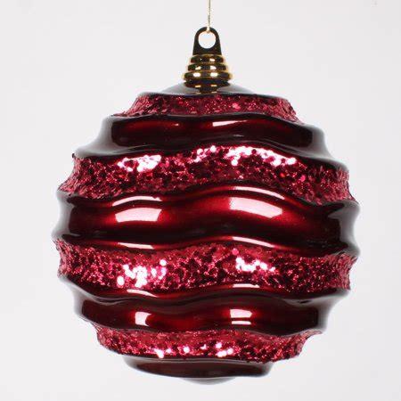 burgendy glittery christmasballs burgundy glitter wave shatterproof ornament 8 quot 200mm walmart