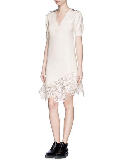 Dress Lace Asymetris lyst sacai asymmetric lace hem knit dress in white