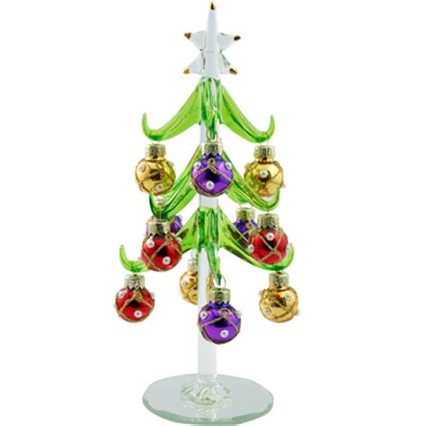 ls arts 6 inch green glass christmas tree with pearled