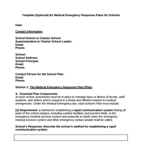 school emergency preparedness plan template sle emergency response plan template 9 free