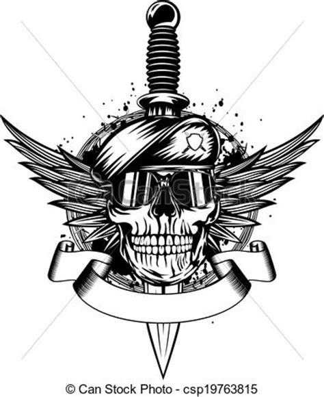 imagenes de calaveras soldados clip art vecteur de cr 226 ne dans b 233 ret ailes et