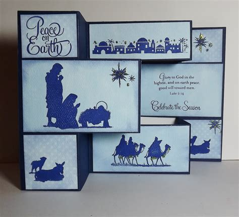 how to make a tri fold card busy with the cricky nativity tri fold card