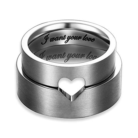 Matching Ring quot i want your quot hollow matching stainless steel