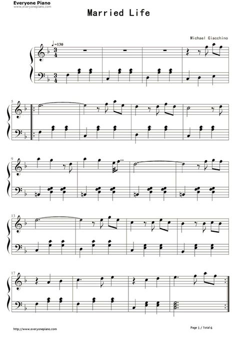 theme music up quot married life quot theme song from quot up quot sheet music