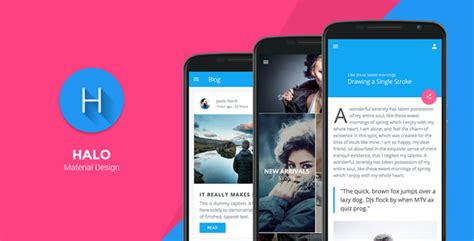 online layout design for android halo material design mobile template by codnauts
