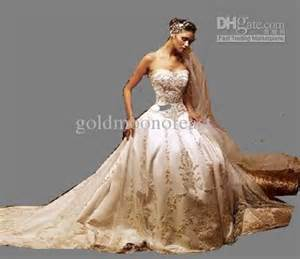 Discount Wedding Gowns Discount Beautiful Ivory Dress Gold Embroidery Sweetheart A Line Wedding Dress Gown Any Size And