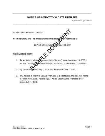 Landlord Reference Letter Sle Canada Notice Of Intent To Vacate Premises Usa Templates Agreements Contracts And Forms