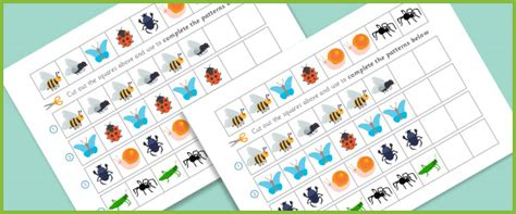 pattern making activities ks1 complete the pattern worksheets minibeasts free early