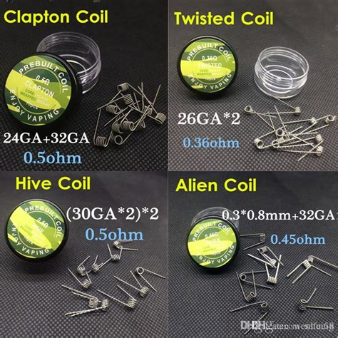 Prebuilt Coil Mix Twisted Wire 0 2 0 8 26ga 0 45ohm 10pcs Prebuilt Coils Flat Twisted Wire Fused Clapton Coils Hive Coil Mix Twisted Tiger Wire