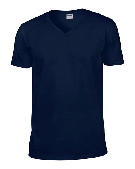 Navy Vneck Sleeve Tshirt Cotton gildan softstyle s v neck cotton t shirt sleeve plain casual top 64v00 navy l ebay