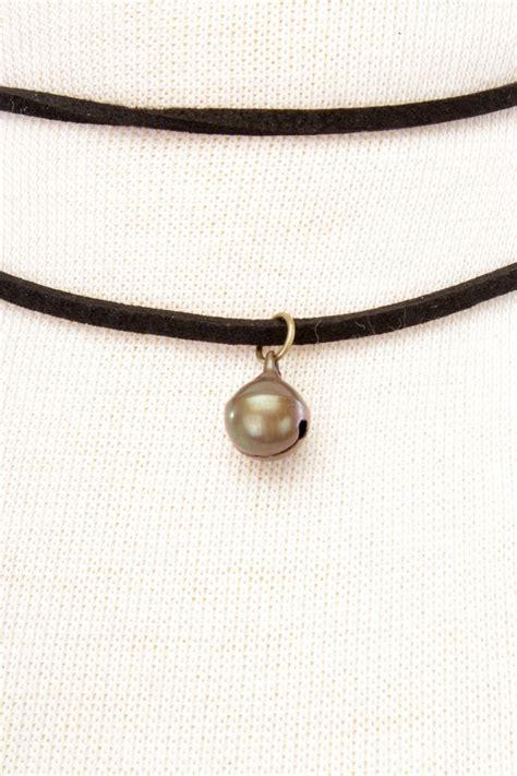 Bell Choker gold black band bell accent choker necklace