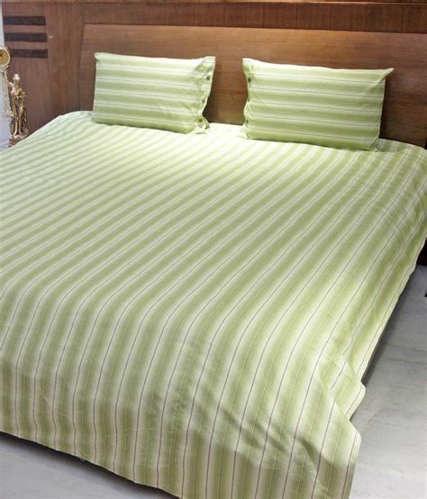 Bed Cover My Cotton Aurave Green Stripe Cotton Bed Cover With 2 Pillow Covers