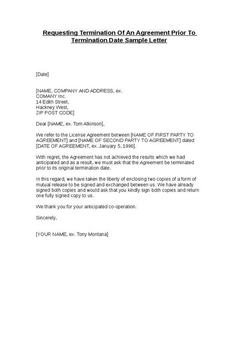 letter of termination template termination agreement letter template kidscareer info