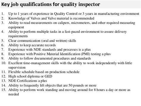 Inspector Description by Quality Inspector Description
