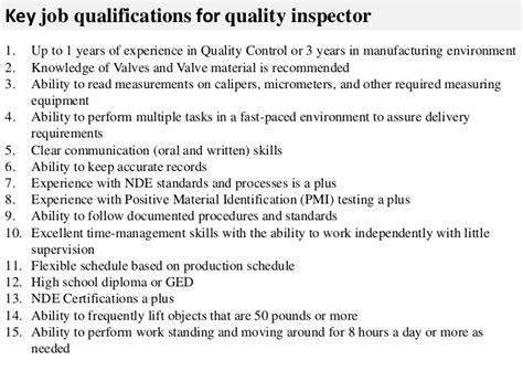 Quality Duties by Quality Inspector Description