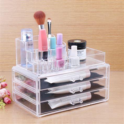 make jewelry organizer acrylic cosmetic 3 drawer semicircle make up jewelry