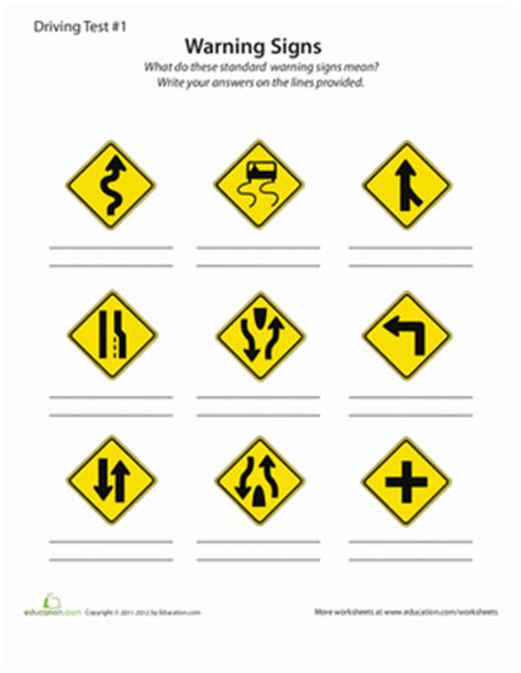 printable road signs for driving test rules of the road practice test 1 worksheet education com