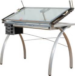 Drafting Table Glass Save On Discount Studio Designs Futura Crafting Station Silver Base And Blue Glass Top More