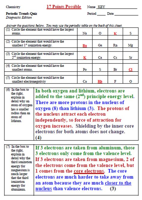 Coulombic Attraction Worksheet Answers by Periodic Table Worksheets Images