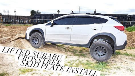 subaru crosstrek lifted lifted 2018 subaru crosstrek skid plate install 4k