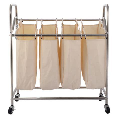 Organizer Cart On Wheels Us 4 Bag Laundry Rolling Cart Basket Her Sorter Storage