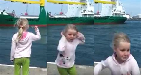 boat horn girl watch this little girl get more then she bargained for