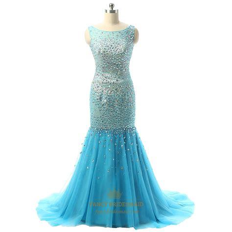 beaded mermaid dress auqa blue sleeveless beaded bodice mermaid tulle prom