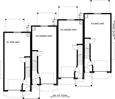 three plex floor plans townhouse plans 4 plex house plans 3 story townhouse f 540
