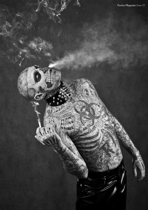 man with full body zombie tattoo zombie boy for factice magazine senses lost