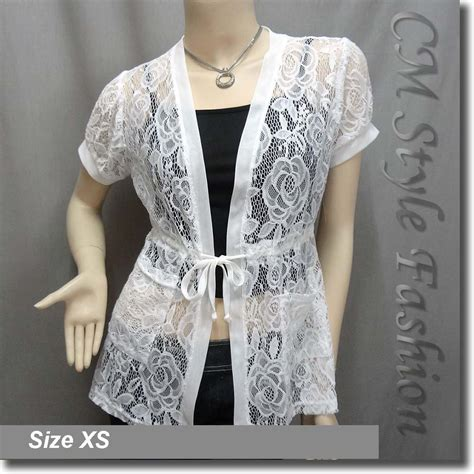 lace pockets drawstring tie cardigan tunic top white