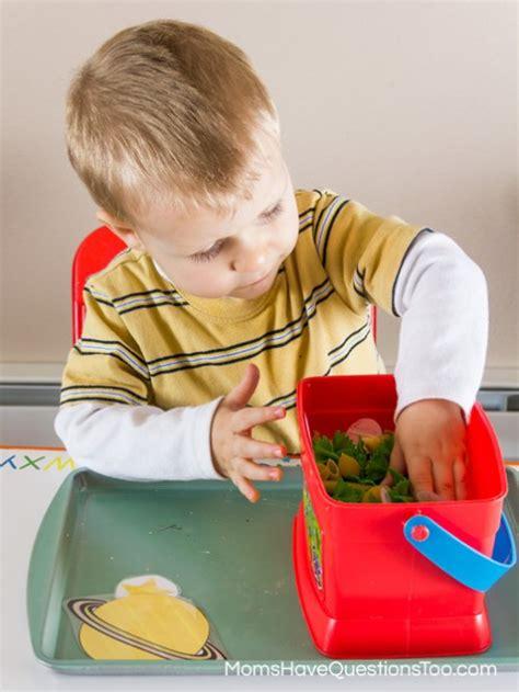 space themed montessori tot school trays