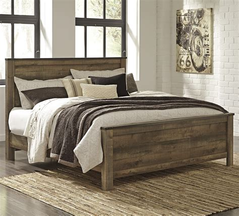 ashley furniture bed signature design by ashley trinell rustic look king panel