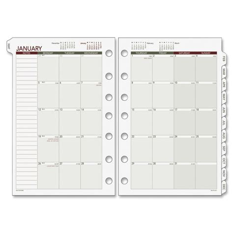 free printable day runner pages day runner 068 685y loose leaf monthly planner refills