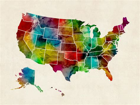 water color map united states watercolor map digital by michael tompsett