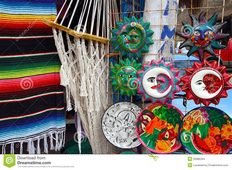 Mexican Handcraft - mexican handcrafts hammock serape and ceramics stock photo