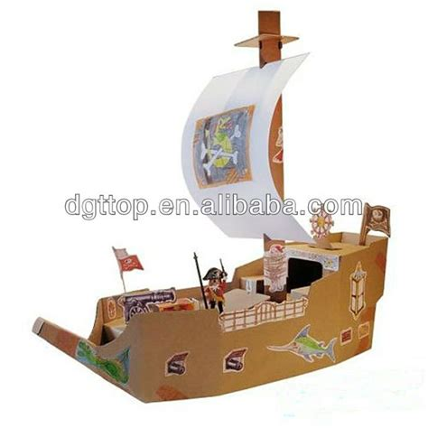 How To Make A Pirate Ship With Paper - cardboard pirate ship model