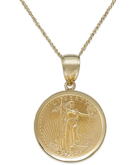 Coins Necklace genuine eagle coin pendant necklace in 22k and 14k gold