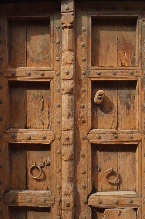 closeup  brown indian wood door stock photo image