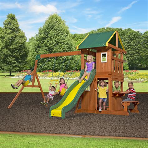 cedar backyard playsets backyard discovery oakmont all cedar swing set reviews