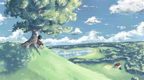 Lukisan Paintings Nature bukit wallpaper pohon anak pondok lanskap lukisan hd layar lebar definisi tinggi fullscreen