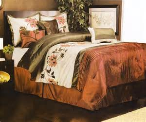 Comforter Set Cal King 7 Pieces Queen Size Comforter Set Spring Flower Rust