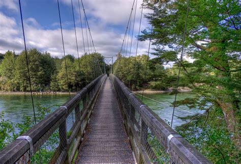 bridge swinging in wind swinging bridge hdr creme